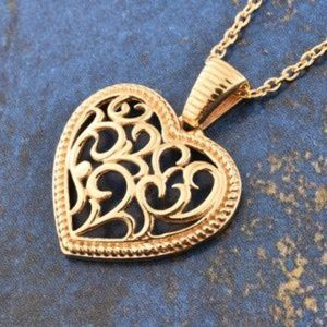 Jewelry - 14K YG Over Sterling Silver Heart Pendant With ION